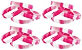 Pink Ribbon Breast Cancer Awareness Camouflage Rubber Bracelets 120 pc Pink & White Fundraiser