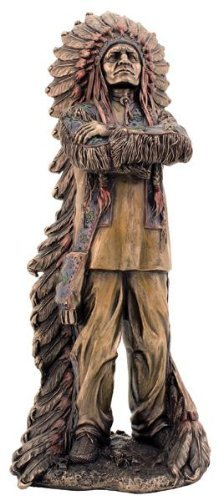 11.5'' Chief Sitting Bull Native Statue Figurine American Warrior Indio Indian