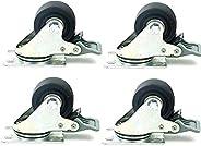 Rodas giratórias extra planas e resistentes, caminhão industrial de nylon preto com placa de cobertura, substi