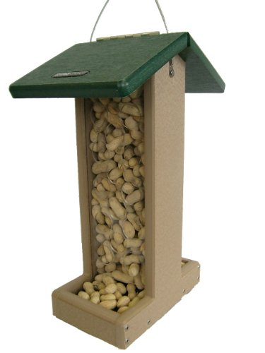 Metal Peanut Feeder - Birds Choice Whole Peanut Blue Jay Feeder with Green Roof
