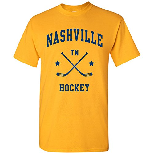 Mens Hockey Arch T-shirt - Nashville Classic Hockey Arch Basic Cotton T-Shirt - Large - Gold