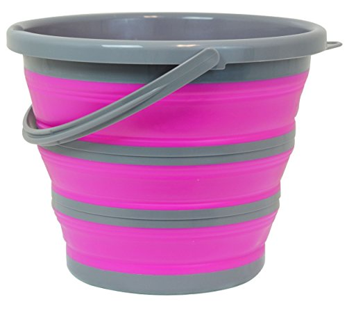 Southern Homewares SH-10185 Deluxe Foldable Silicone Collapsible 2.65 Gallon Bucket, Pink]()