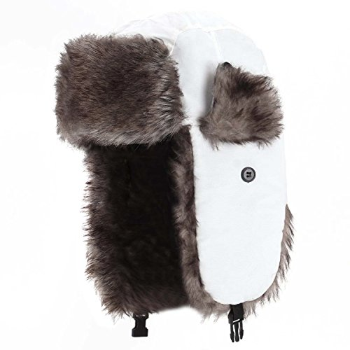 YESURPRISE Trapper Warm Russian Trooper Fur Earflap Winter Skiing Warm Hat Cap Women Men Unisex Windproof Army White from YESURPRISE