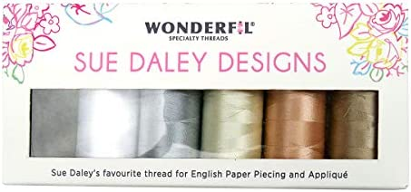10 x 273yd spools 2 Ply 80wt Cottonized Soft Polyester Silk-Like Thread Fine Sewing English Paper Piecing EPP Applique Sewing Decobob WonderFil Sue Daley Designs Favourites Specialty Threads