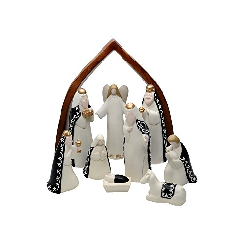 Comfy Hour Baby Jesus Holy Family With Angel Christmas Nativity Scene Figurine, Stable Set of 9 Pieces, Perfect For Christmas ()