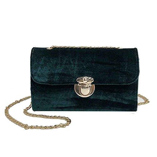 Lady Sling Street Sac Color à Mengonee Sac Pure bandoulière chaîne main Vert Femmes Mode à sac bandoulière Velvet sac 5xHHtXwq