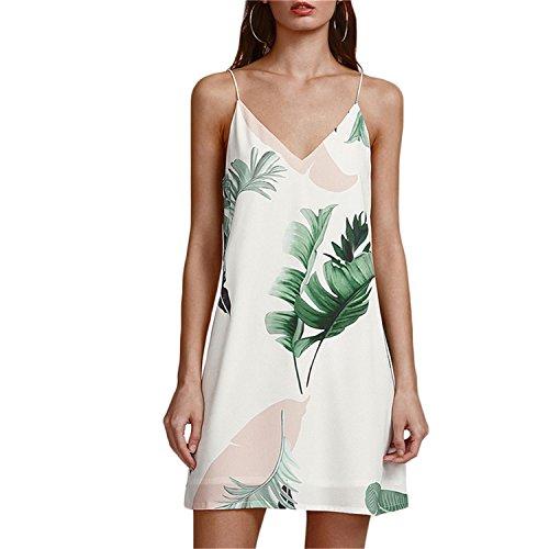 (OUXIANGJU White Women Palm Leaf Print Double V-Neck Casual Shift Sleeveless Cami)