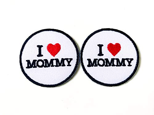 Tyga_Thai Brand Set 2 pcs. Mini I Love Mommy Cute Cartoon Wording Cute Logo Applique Embroidered Sew on Iron on Patch for Backpacks Jeans Jackets T-Shirt Clothing etc.- White Color (Iron-Ilove-Mommy -