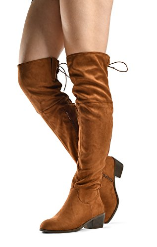 Women's Over The Knee Boots Stacked Low Heel Western Kate Lace Up Almond Toe Knee High Tall Boot Tan 9 Western Style Boots