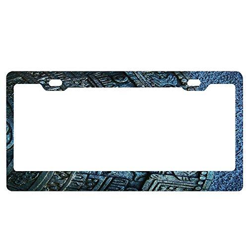 ASLGlicenseplateframeFG Aztec Calendar Custom Metal License Plate Frame Tag Holder Aluminum Funny Stylish