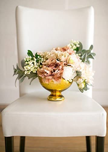 Afloral Gold Mercury Glass Bowl Vase Wedding Centerpiece – 5 Tall x 7 Wide