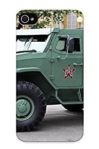 Flexible Tpu Back Case Cover For Iphone 4/4s - Russian Red Star Russia Army Militarybasic Variant Of Toros Armored Vehicle 3