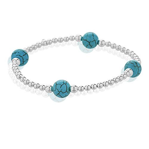 925 Sterling Silver and Blue Reconstructed Turquoise Gemstone Spheres Beaded Stretch Bracelet