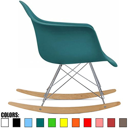 2xhome - Teal - Eames Style Molded Modern Plastic Armchair Rocker Chrome (Metal Modern Lounge Chairs)