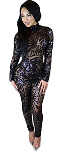 Kearia Women Sexy Sequin Jumpsuits Back Hole Nude Illusion Slim Leg Pants Jumpsuits Rompers Black (Sexy Jumpsuits For Clubbing)