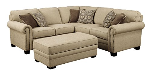 Emerald Home U4230A-09-11-12-K LaCie 2 Piece Sectional with 6 Pillows Right Side Facing Sofa With Left Side Facing Loveseat, Beige