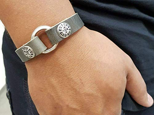 Grey Handmade Silver and Leather Ring Bracelet for Men, Friendship Wrap 925 Sterling Silver Plated Charm Bracelet for ()