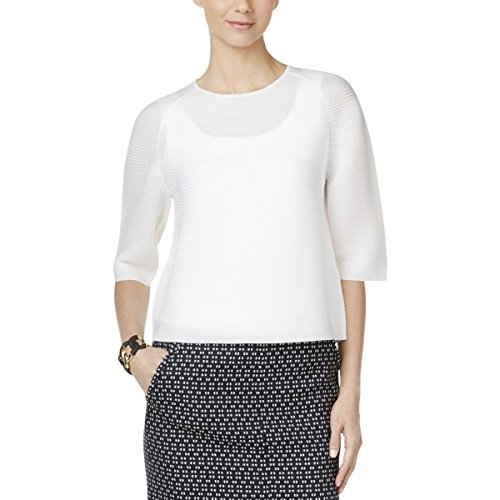 Anne Klein Womens Ribbed Knit Crew Neck Pullover Sweater White XL - Anne Klein Cashmere