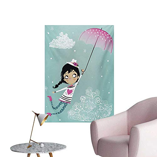 Anzhutwelve Girls Photographic Wallpaper Flying Girl with a Pink Umbrella and a Floral Hat Doodle Style Curly Cloud MotifsMulticolor W32 xL48 The Office Poster