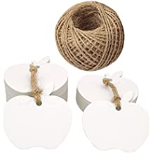 100 PCS Kraft Paper Gift Tags Apple Shaped Craft Hang Tags with Jute Twine 30 Meters Long for Wedding Favor Tag & Price Tags Labels (White)