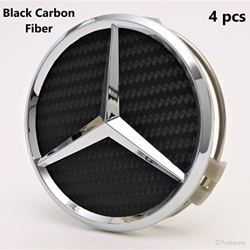 Mercedes Benz Wheel Center Caps - Black Carbon Fiber - Set of 4 - New - Mercedes Benz Wheel Caps – AMG Wheel Center Caps - 75mm / 3 Inch (Wheel Center Cap Hubcap)