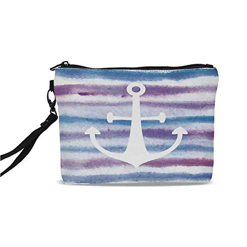 (Anchor Simple Cosmetic Bag,Watercolors Anchor with Soft Colors on Blurred Stripes Like Horizontal Waves for Women,9