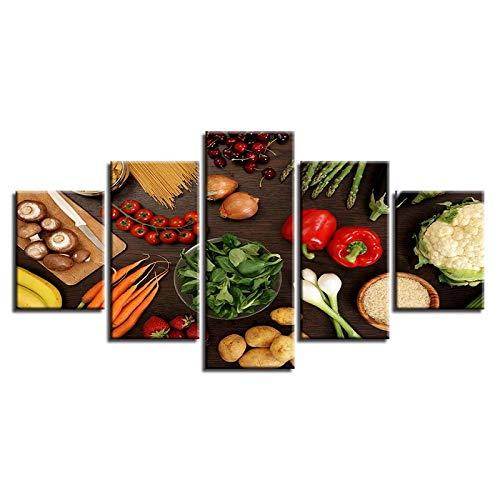 RuiYa Wall Art 200×100 CM 5 Marco Pintura decorativa Vegetales seta pimienta patata zanahoria comida 5 uds HD cuadro de…