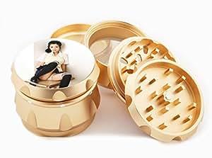 "Asian Girl Design Premium Grade Aluminum Tobacco,Herb Grinder -4Pcs Large (2.5"" Gold) # GLD-G121114-0007"