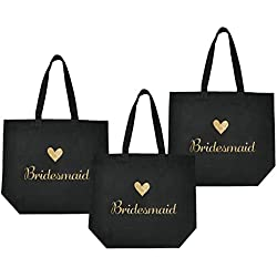 ElegantPark Bridesmaid Tote Bag for Wedding Favor Bachelorette Gifts 100% Cotton Black with Gold Glitter 3 Pcs