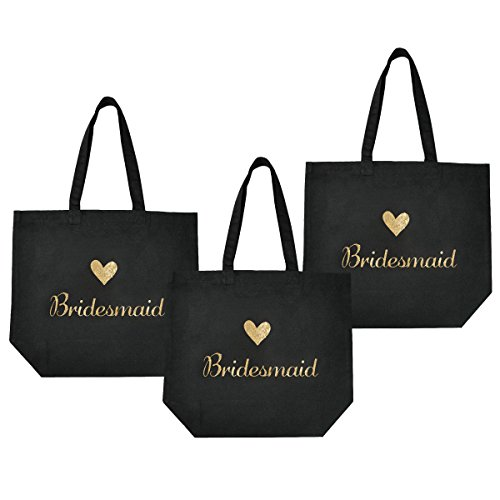 ElegantPark Bridesmaid Tote Bag for Wedding Favor Bachelorette Gifts 100% Cotton Black with Gold Glitter 3 Pcs]()