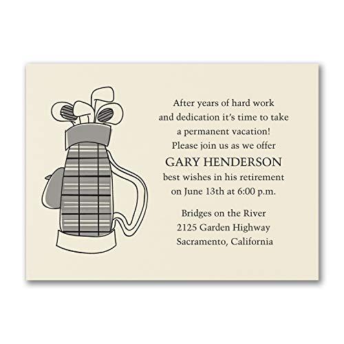 (250pk Time for Golf - Party Invitation - Ecru-Retirement Invitations)
