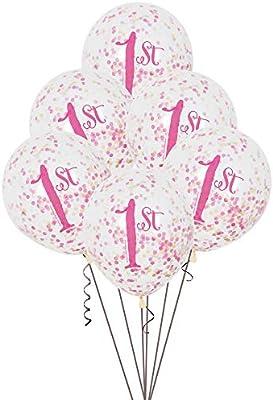 Unique Party- Globos Confeti Fiesta de Primer Cumpleaños para Niña Paquete de 6, Color rosa y dorado, 30 cm (58165)