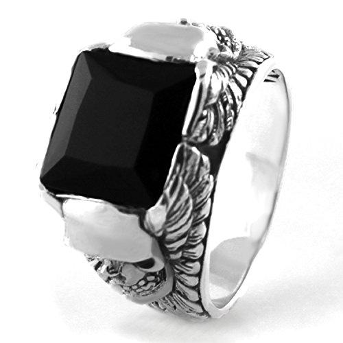 925 Sterling Silver Soaring Skull Head Onyx Ring, Size 9