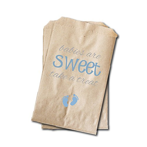 Baby Feet Candy Bags - Boys Baby Shower Favor Bags - 6.25