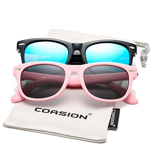 Kids Polarized Sunglasses TPEE Rubber Flexible Shades for Girls Boys Age 3-10 (Black/Blue Mirror + All Pink)