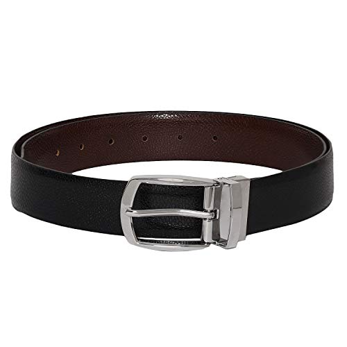 - Otuoro Men's Handmade textured italian leather black and brown belt with shiny prong reversible buckle