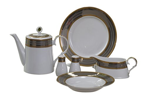 Calvin Klein Eternity Royal Blend 68 Piece Dinner Service, Porcelain White/Platinum, 55 x 50 x 50 ()