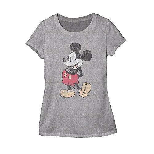 Disney Classic Mickey Mouse Juniors Heather Grey T-shirt