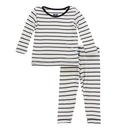 KicKee Pants Little Girls Print Long Sleeve Pajama Set, Neutral Parisian Stripe, Girls 6 Years