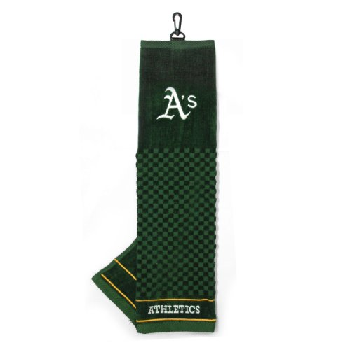 Team Golf MLB Oakland Athletics Embroidered Golf Towel, Checkered Scrubber Design, Embroidered Logo