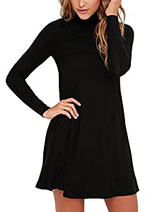 BomDeals Sway,Womens Casual Turtleneck Long Sleeves T-Shirt Loose Black/Green Swing Dress