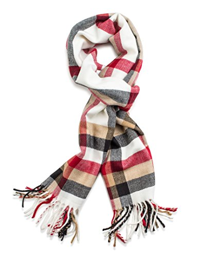 Veronz Soft Classic Cashmere Feel Winter Scarf, White/Red Plaid ()