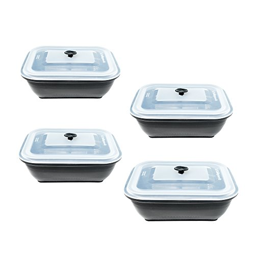 Collapse-it Silicone Food Storage Containers, 4-piece Rectangle Set - 6 Cup - Oven, Microwave and Freezer Safe