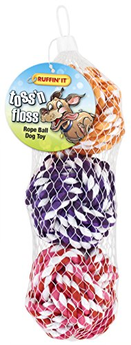 - RUFFIN' IT 3-Pack Toss 'N Floss Rope Ball in Mesh Bag for Pets