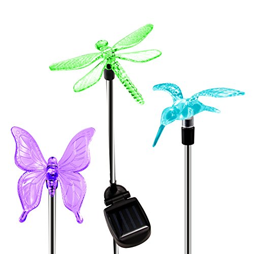 OxyLED Solar Garden Lights, 3 Pack  Solar Garden Stake Light, Multi-color Changing Solar Powered Decorative Landscape Lighting Hummingbird Butterfly Dragonfly for Outdoor Path, Yard, Lawn, Patio ()