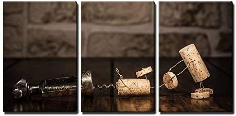 Amazon Com Wall26 3 Piece Canvas Wall Art Concept Escape From A Corkscrew With Wine Cork Figures Modern Home Art Stretched And Framed Ready To Hang 16 X24 X3 Panels Posters