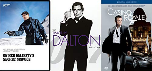 Royale Secret Service James Bond Casino 007 Daniel Craig / On Her Majesty's George Lazenby / Living Daylights / Licence to Kill Timothy Dalton 4 Movie DVD pack