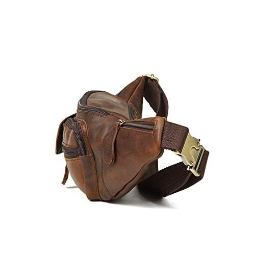 Recorrido para Bolso Cintura Color Cuero Color de del de Genuino la del los Chocolate FELICIAAPR Funcionamiento de del del Chocolate Paquete el Fanny Color Organizador Hombres aqE4R
