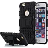 TARKAN Hard Armor Hybrid Rubber Bumper Flip Stand Rugged Back Case Cover For Apple Iphone 6 / 6S 4.7 inch - BLACK