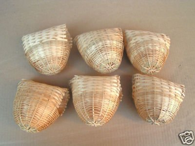 41LEerAdTUL - Finch Bird Bamboo Covered Bird Nest Lot of 6 -- Medium